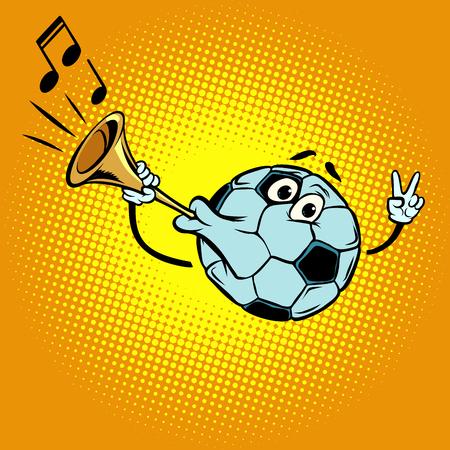Fan horn, loud sound. Character soccer ball football