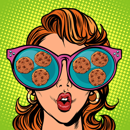 chocolate chip cookies. Woman reflection in glasses Vectores