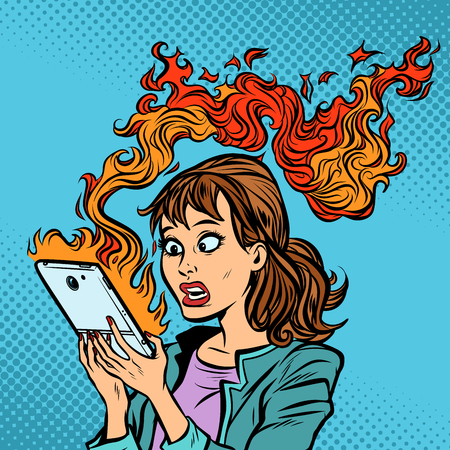 Woman with a burning phone. Hot news. Ignition of the battery  イラスト・ベクター素材