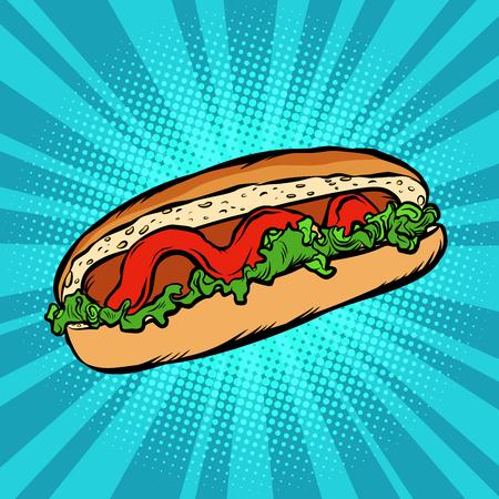 hot dog salad ketchup Illustration
