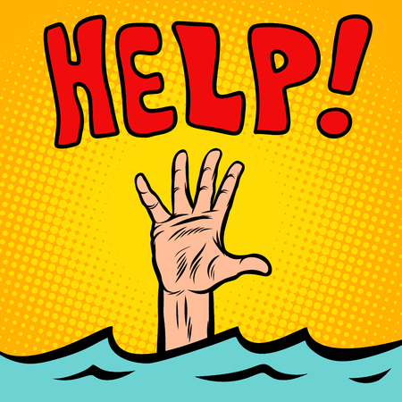 Hand sinking help. Comic cartoon pop art retro vector illustration drawing