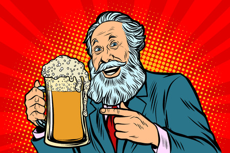 Lächelnder alter Mann mit einem Becher Bierschaum. Comic-Cartoon-Pop-Art-Retro-Vektor-Illustrationszeichnung