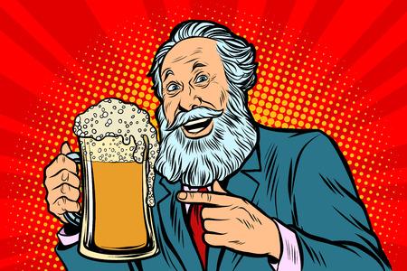 Smiling old man with a mug of beer foam. Comic cartoon pop art retro vector illustration drawing