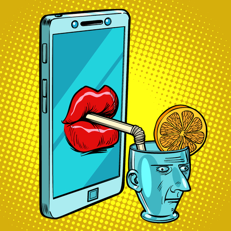 Smartphone drinks human brain. Comic cartoon pop art retro vector illustration drawing 向量圖像