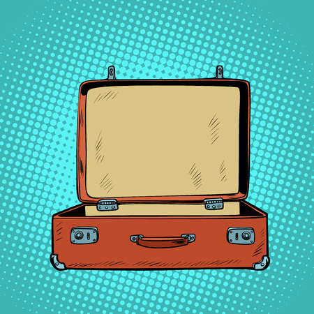 old open retro suitcase. Travel and tourism. Comic cartoon pop art retro vector illustration drawing