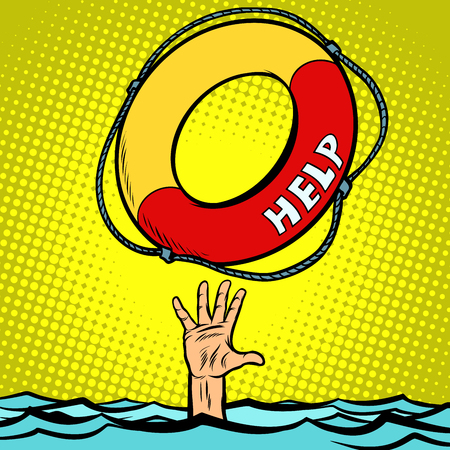 Aiuto del cerchio di salvataggio per annegamento della mano. Disegno di illustrazione vettoriale retrò di pop art fumetto comico
