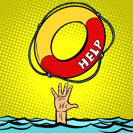 Ayuda del Círculo de Rescate de Ahogamiento de Mano. Dibujo de ilustración de vector retro de dibujos animados cómic pop art