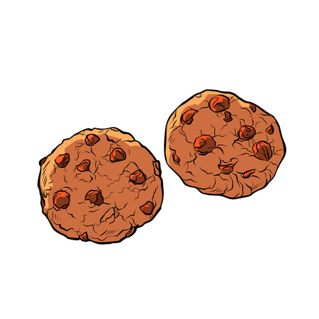 chocolate chip cookies isolate on white background. Comic cartoon pop art retro vector illustration drawing