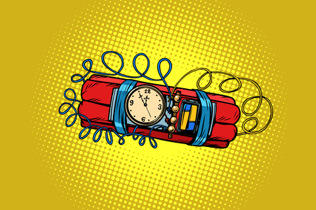 time bomb. explosive dynamite. Comic cartoon pop art retro vector illustration drawing  イラスト・ベクター素材