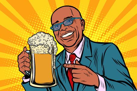 Smiling man with a mug of beer foam. African American people. Comic cartoon pop art retro vector illustration drawing