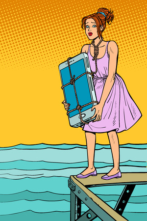 Woman suicide with smartphone on neck wants to drown herself Illustration