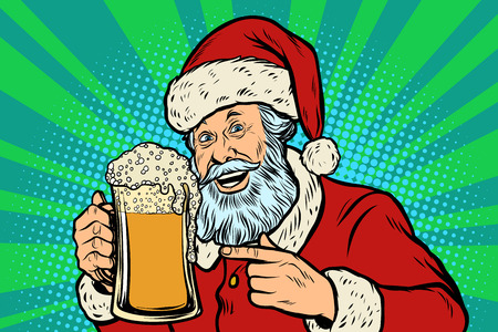 Santa Claus with a mug of beer foam. Christmas and New year. Comic cartoon pop art retro vector illustration drawing Stock Illustratie