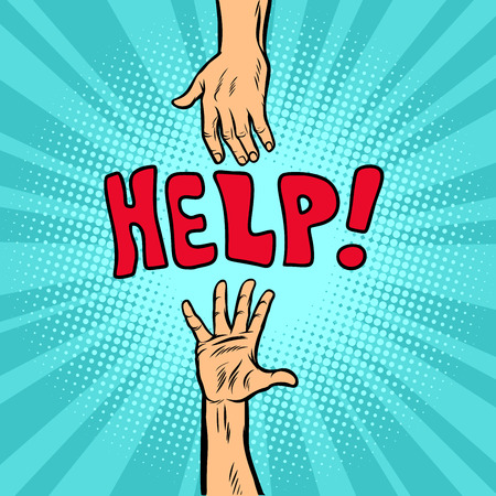 Helping hand, help and volunteering. Comic cartoon pop art retro vector illustration drawing