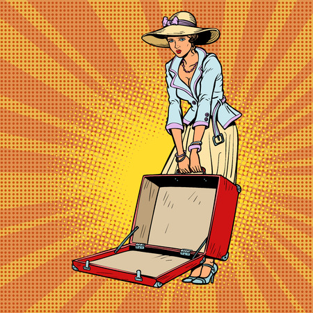 Woman with open suitcase. Comic cartoon pop art retro vector illustration drawing Ilustração