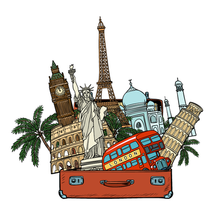 Suitcase with world landmarks.Tourism and travel concept. Isolate on white background. Comic cartoon pop art retro vector illustration drawing
