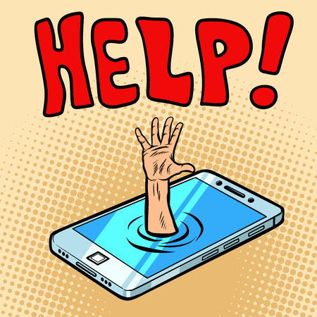 Rescue by phone. Helping hand. Comic cartoon pop art retro vector illustration drawing