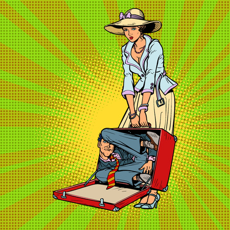 Husband in suitcase. Woman traveler. Comic cartoon pop art retro vector illustration drawing Ilustração