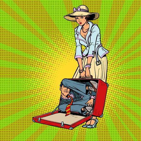 Husband in suitcase. Woman traveler. Comic cartoon pop art retro vector illustration drawing Illustration
