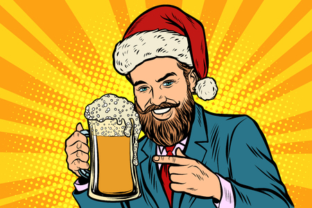 Christmas and New year. Smiling man with a mug of beer foam. Comic cartoon pop art retro vector illustration drawing