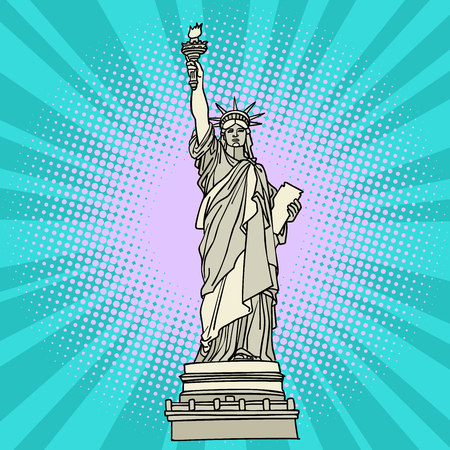 Statue of liberty. New York America. Comic cartoon pop art retro vector illustration drawing Çizim