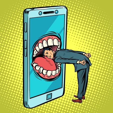 Dangerous phone, look online and the Internet. Comic cartoon pop art retro vector illustration drawing