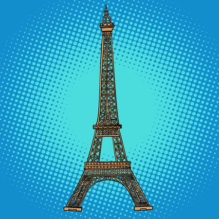 Eiffelturm. Paris, Frankreich. Comic-Cartoon-Pop-Art-Retro-Vektor-Illustration-Zeichnung