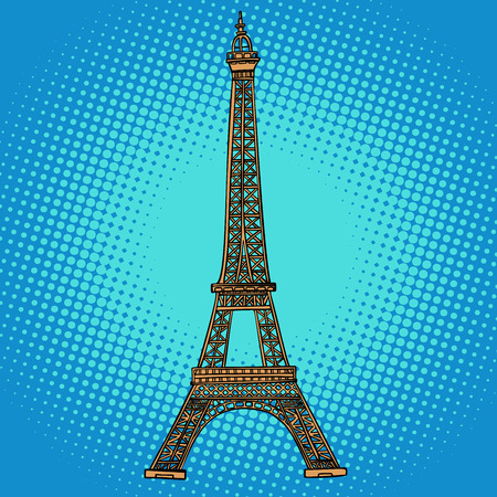 Torre Eiffel. París, Francia. Dibujo de ilustración de vector retro de dibujos animados cómic pop art