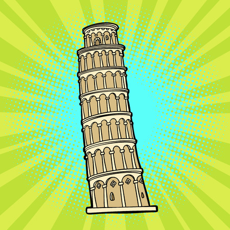 tower of Pisa. Italy tourism. Comic cartoon pop art retro vector illustration drawing