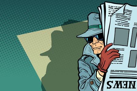 Spionagedetektiv mit Hut und Sonnenbrille, Zeitung. Comic Cartoon Pop-Art Retro-Vektor-Illustration-Zeichnung Vektorgrafik