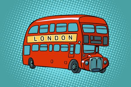Autobús de dos pisos de Londres. Dibujo de ilustración de vector retro de dibujos animados cómic pop art