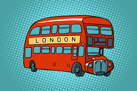 Londoner Doppeldeckerbus. Comic-Cartoon-Pop-Art-Retro-Vektor-Illustrationszeichnung