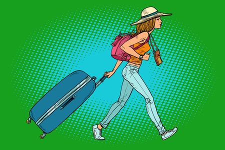 Viajero mujer con maleta. Dibujo de ilustración de vector retro de dibujos animados cómic pop art
