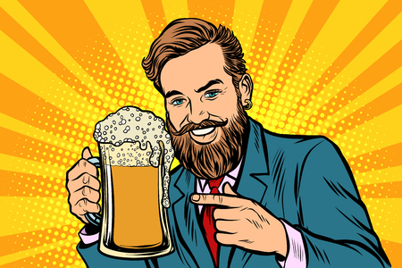 Smiling man with a mug of beer foam. Comic cartoon pop art retro vector illustration drawing