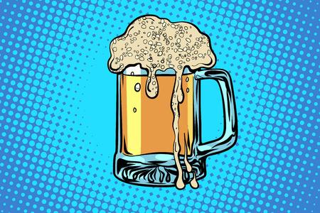 mug of beer. bar restaurant pub. Comic cartoon pop art retro vector drawing Illustration