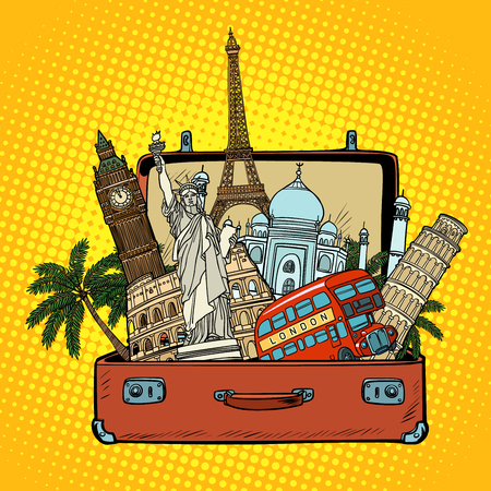 Suitcase with world landmarks.Tourism and travel concept. Comic cartoon pop art retro vector illustration drawing Ilustração