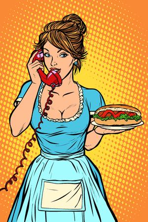 hot dog sausage Delivery. Hotel service. Waitress. Comic cartoon pop art retro vector drawing