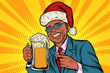 Christmas and New year. man with a mug of beer foam. African American people. Comic cartoon pop art retro vector illustration drawing Illustration