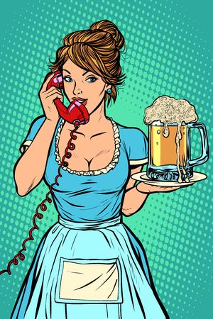 Delivery. Hotel service. Waitress. mug of beer. Comic cartoon pop art retro vector drawing Illustration