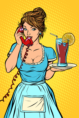 Cola with lemon Delivery. Hotel service. Waitress. Comic cartoon pop art retro vector drawing
