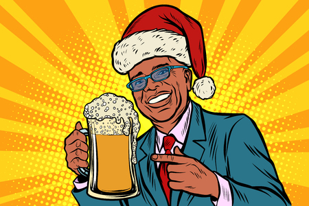 Christmas and New year. man with a mug of beer foam. African Ame