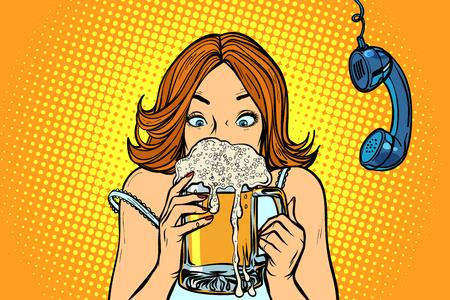 Pausa pranzo. Donna che beve birra. Disegno di illustrazione vettoriale retrò di pop art fumetto comico