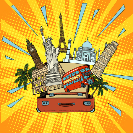 Tourism and travel concept. America Europe Asia and the world. Comic cartoon pop art retro vector illustration drawing