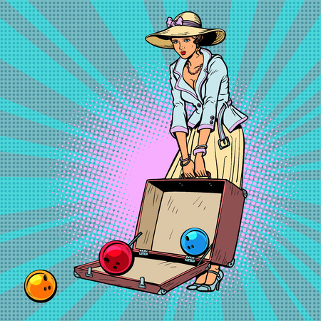 bowling ball. Woman with suitcase. Comic cartoon pop art retro vector illustration drawing