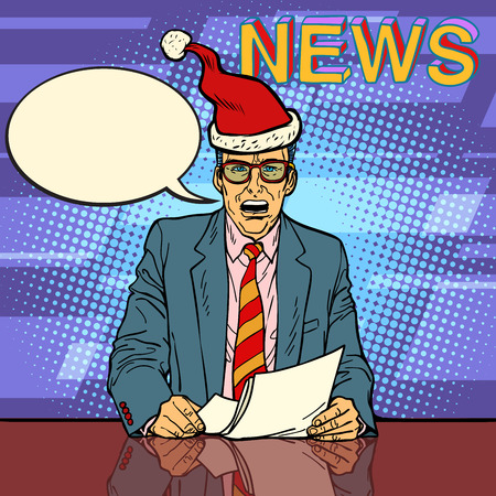 Male news anchor. Comic cartoon pop art retro vector illustration drawing