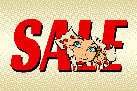 sale. woman looking through torn paper background