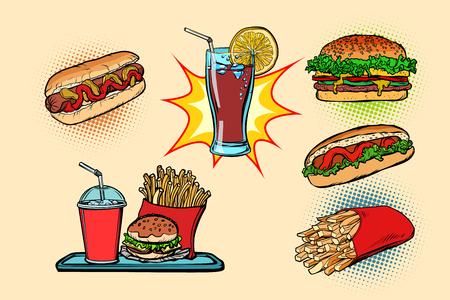 comida rápida set colección hot dog Burger Cola Papas fritas bebida. Dibujo de ilustración de vector retro de dibujos animados cómic pop art