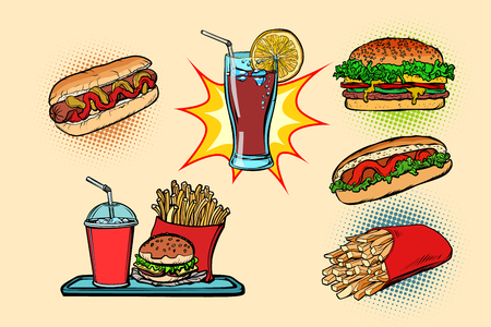 fast food set collection hot dog Burger Cola French fries drink. Comic cartoon pop art retro vector illustration drawing