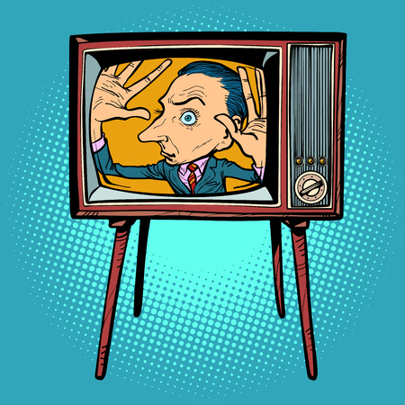 man inside TV. Comic cartoon pop art retro vector illustration drawing