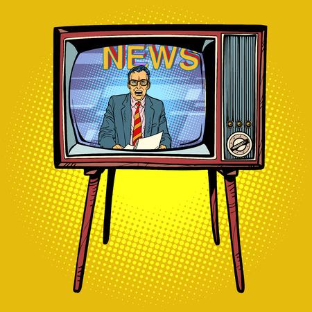 Political news presenter on TV. Comic cartoon pop art retro vector illustration drawing