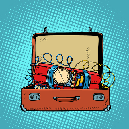 Valigia con una bomba a orologeria. Disegno di illustrazione vettoriale retrò di pop art fumetto comico